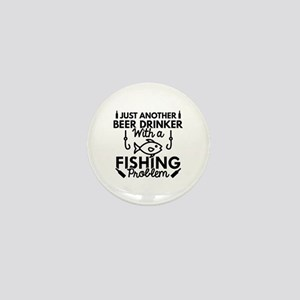 Beer Drinker Fishing Mini Button