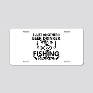 Beer Drinker Fishing Aluminum License Plate