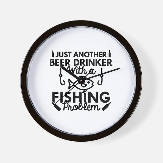Beer Drinker Fishing Wall Clock