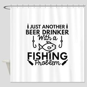 Beer Drinker Fishing Shower Curtain