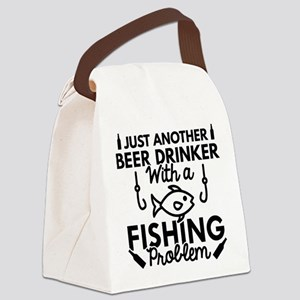 Beer Drinker Fishing Canvas Lunch Bag