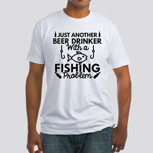 Beer Drinker Fishing Fitted T-Shirt