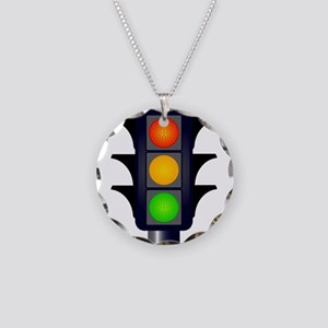 Hooded Traffic Lights Necklace Circle Charm