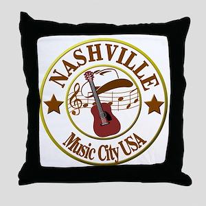 Nashville Music City USA-LT Throw Pillow
