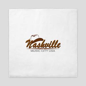 Nashville Music City-Brn Queen Duvet