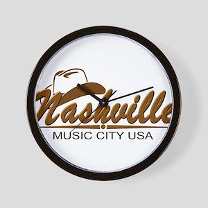 Nashville Music City-BRN Wall Clock