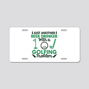 Beer Drinker Golfing Aluminum License Plate
