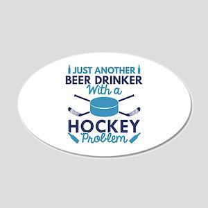 Beer Drinker Hockey 22x14 Oval Wall Peel