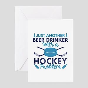 Beer Drinker Hockey Greeting Card