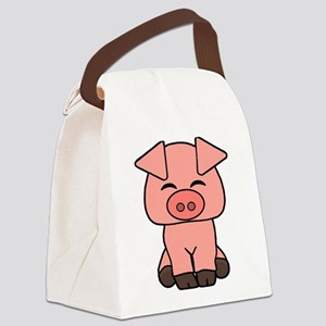 Cute Pink Pig Canvas Lunch Bag
