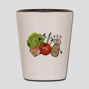 Funny cartoon vegetables Shot Glass
