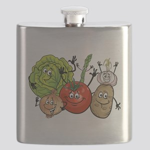 Funny cartoon vegetables Flask