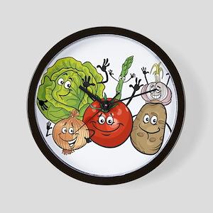 Funny cartoon vegetables Wall Clock