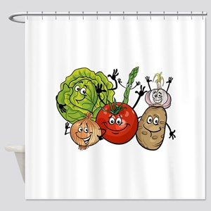 Funny cartoon vegetables Shower Curtain
