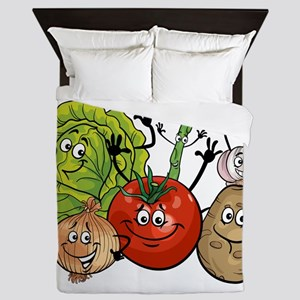 Funny cartoon vegetables Queen Duvet