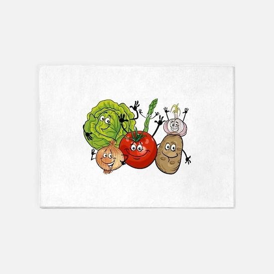 Funny cartoon vegetables 5'x7'Area Rug