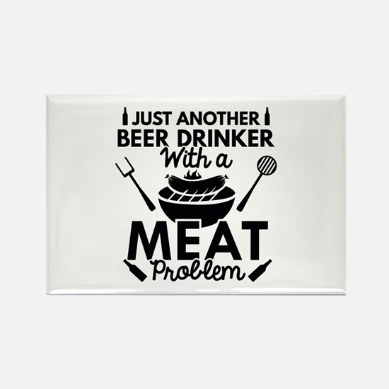 Beer Drinker Meat Rectangle Magnet