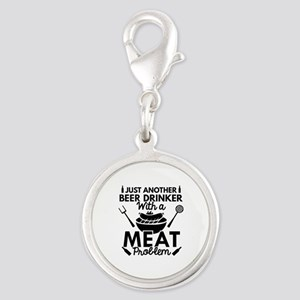 Beer Drinker Meat Silver Round Charm