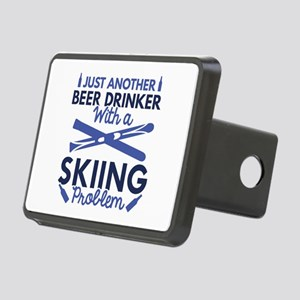 Beer Drinker Skiing Rectangular Hitch Cover