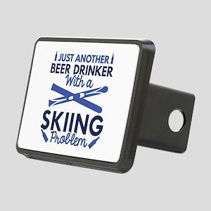 Beer Drinker Skiing Rectangular Hitch Cover