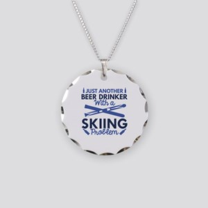 Beer Drinker Skiing Necklace Circle Charm