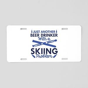 Beer Drinker Skiing Aluminum License Plate