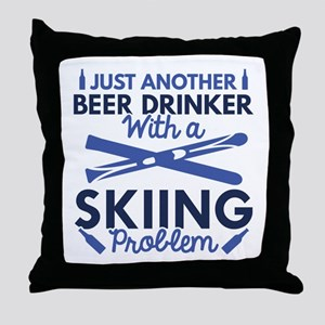 Beer Drinker Skiing Throw Pillow