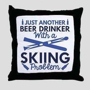 Beer Drinker Skiing Throw Pillow