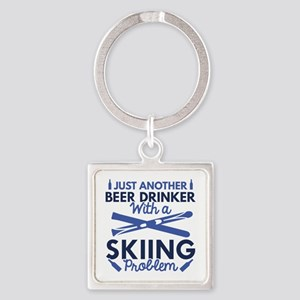 Beer Drinker Skiing Square Keychain