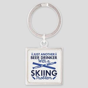 Beer Drinker Skiing Square Keychain