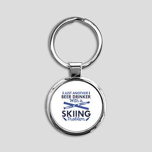 Beer Drinker Skiing Round Keychain