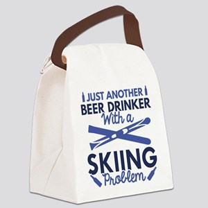 Beer Drinker Skiing Canvas Lunch Bag