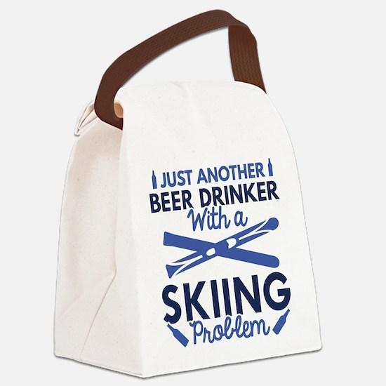 Beer Drinker Skiing Canvas Lunch Bag