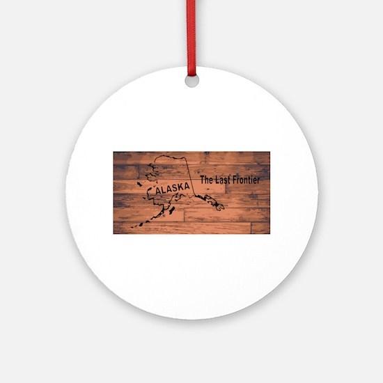 Alaska Map Brand Round Ornament