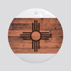 New Mexico State Flag Brand Round Ornament