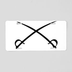 Crossed Sabres Aluminum License Plate