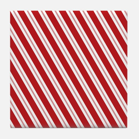 Red Candy Stripe Pattern Tile Coaster