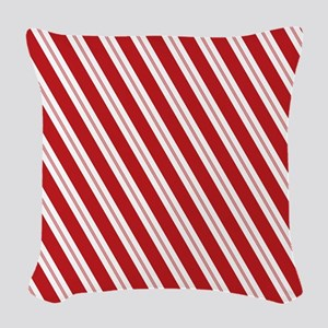 Red Candy Stripe Pattern Woven Throw Pillow