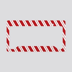 Red Candy Stripe Pattern License Plate Holder