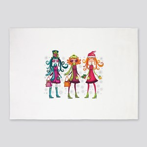 Cute girls with handbags cartoon 5'x7'Area Rug