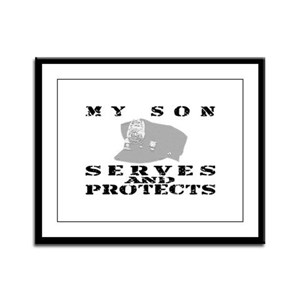 Serves & Protects Hat - Son Framed Panel Print
