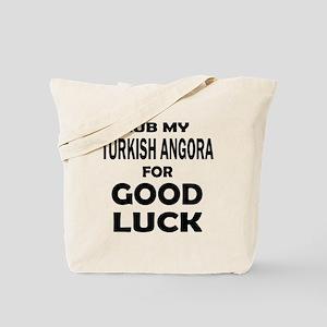 Rub my Turkish Angora for good luck Tote Bag