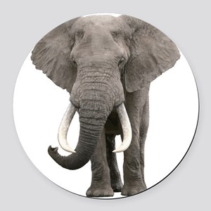 Realistic elephant design Round Car Magnet