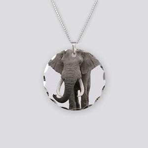 Realistic elephant design Necklace Circle Charm