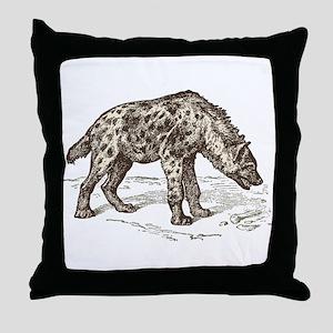 Vintage hyena art Throw Pillow