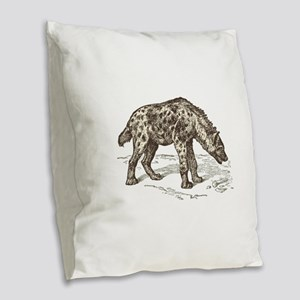 Vintage hyena art Burlap Throw Pillow