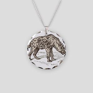 Vintage hyena art Necklace Circle Charm