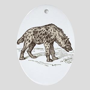Vintage hyena art Oval Ornament