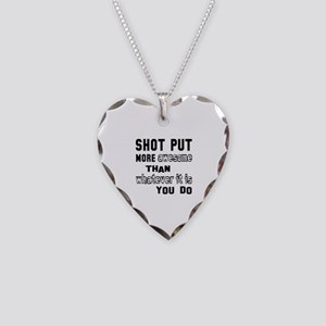 Shot Put more awesome than wh Necklace Heart Charm