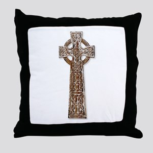 Wooden Celtic Cross Throw Pillow